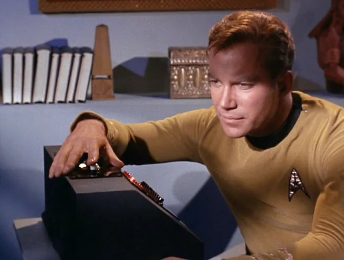 Image result for captain kirk calling the bridge from his quarters
