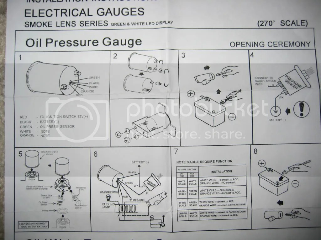 vdo electric oil pressure gauge wiring diagram leviton combination switch amp marine tachometer