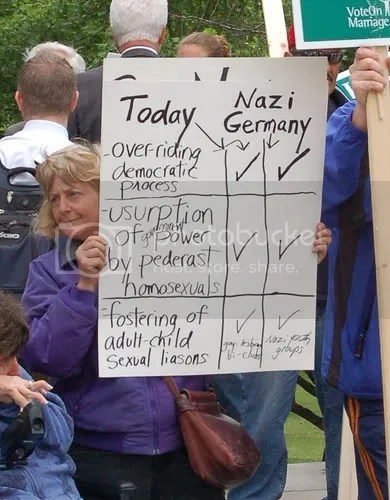 Mass Resistance protester with Nazi sign