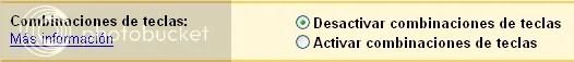 Activar/Desactivar combinaciones de teclas en Gmail