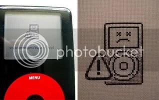 cross-stitched dead ipod