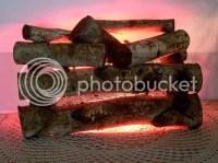 Vintage lighted Fake Fire Place Log Set Real Birch Wood ...