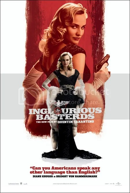 A promotional poster for Inglourious Basterds drives home the importance of language and cinema to the story.
