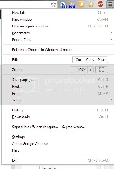 Google Chrome App Menu
