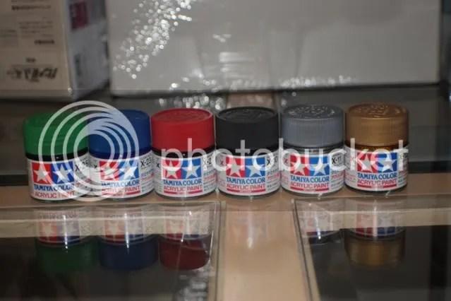 6 bottles of Tamiya Paint