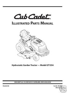 Cub-Cadet-Parts-Manual-Model-No-GT-1554