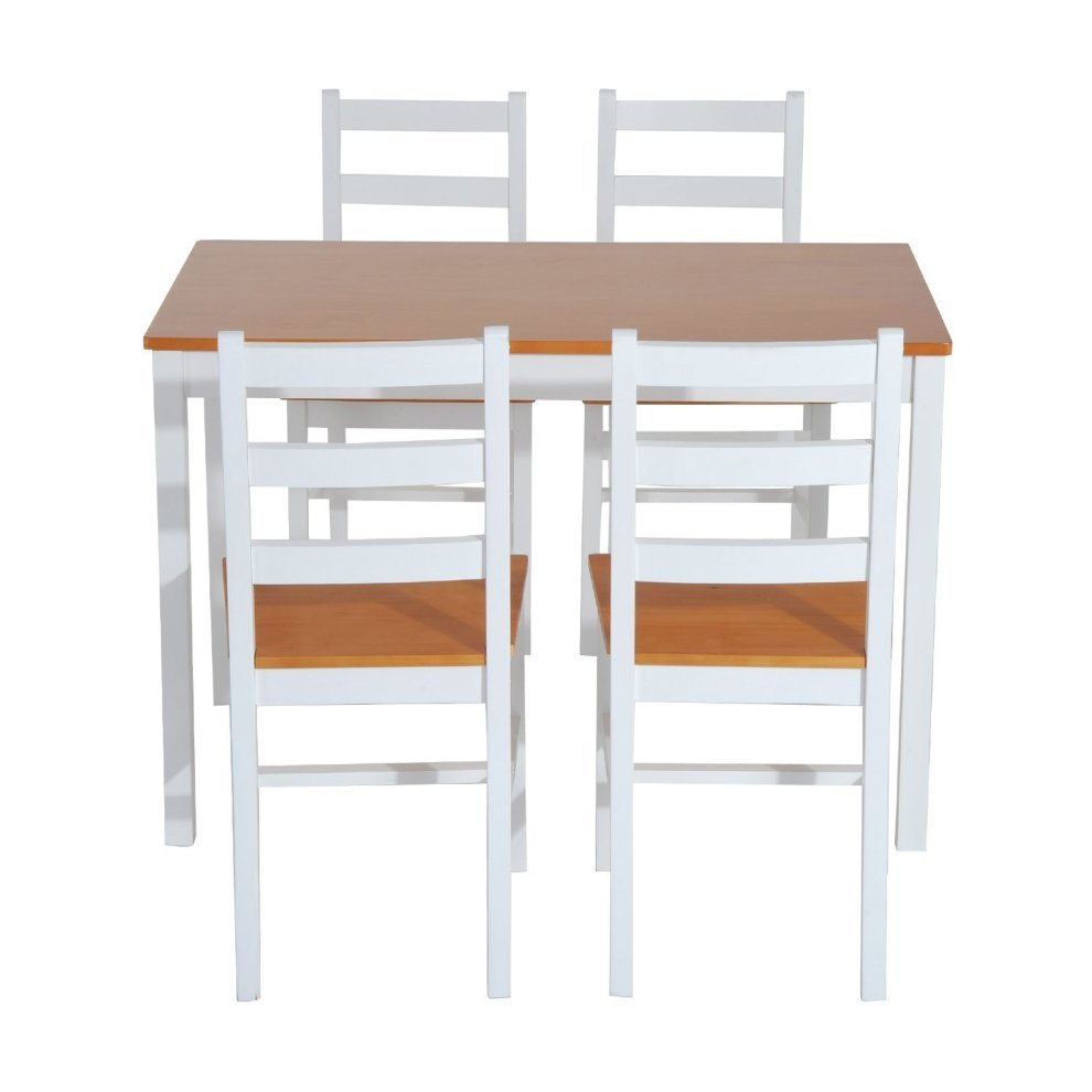 kitchen dinette set quartz countertop homcom 5pc dining 1 table and 4 chairs solid wood furniture 2