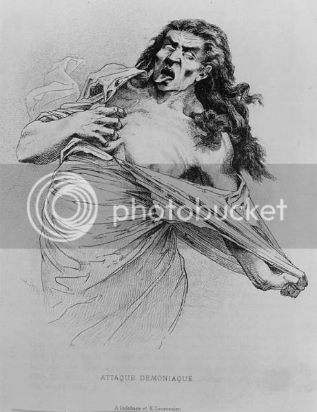 Ataque demoníaco, A. Delahaye e E. Lecrosnier, gravura para Études Cliniques sur la Grande Hystérie ou Hystéro-Épilepsie do Dr. Paul Richer, 1885