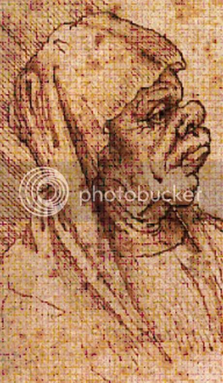 Leonardo Da Vinci, esboços fisionómicos- detalhe (Louvre, Cabinets des Dessins)