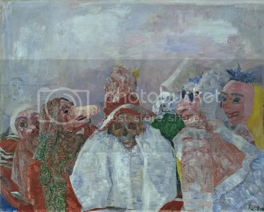James Ensor(1860-1949), Máscaras enfrentando a Morte, 1888