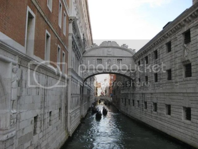 Bridge of Sighs. The Bridge of Sighs is a bridge in Venice. The enclosed bridge is made of white limestone and has windows with stone bars. It passes over the Rio di Palazzo and connects the old prisons to the interrogation rooms in the Doge's Pala photo 539836_10151092594296209_952313589_n.jpg