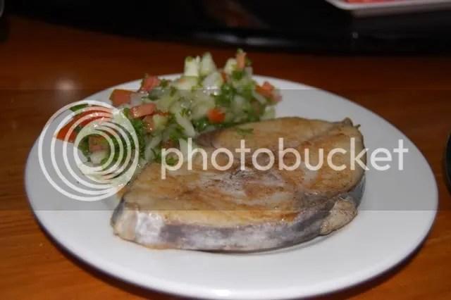 tangigue with sharizi salad