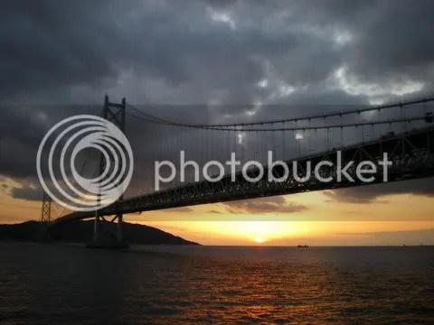 Sunset at Akashi Bridge