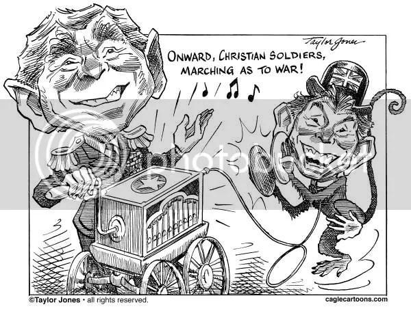 Organ grinder George W Bush, his organ grinder's monkey Tony Blair, and the Iraq war, cartoon