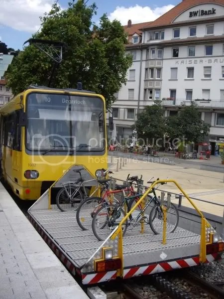 Stuttgart tram with trusty pre-Xtracycle M-trax on the bike wagon