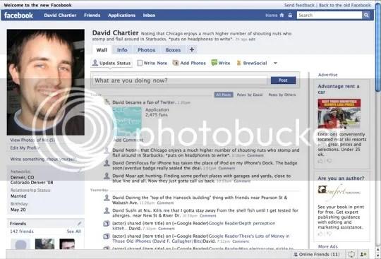 Halaman profil baru Facebook