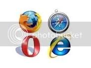 Logo Firefox, Opera, IE dan Safari