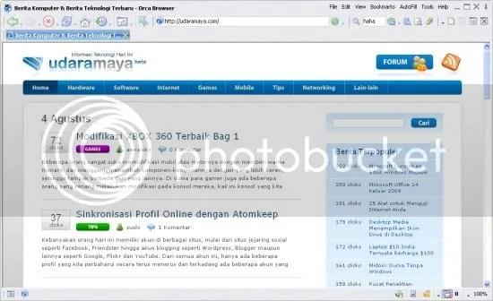 Screenshot Orca browser