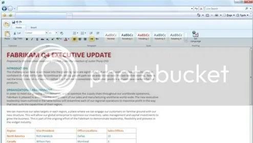 Screenshot Word Online