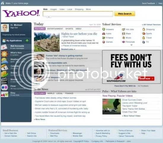 Homepage baru Yahoo