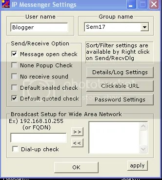 IP Messenger personalized Settings