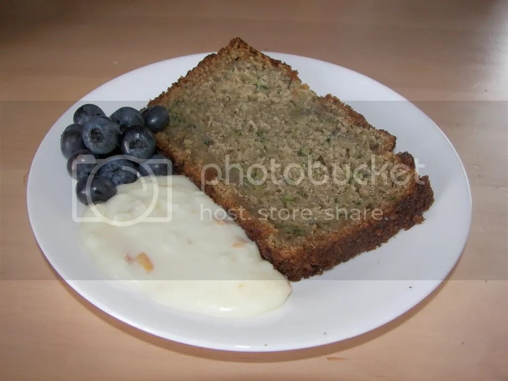 Zucchini bread, orange cream cheese, and blueberries
