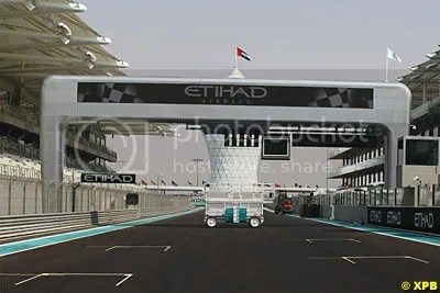 Electronic advertising boards above the main F1 straight