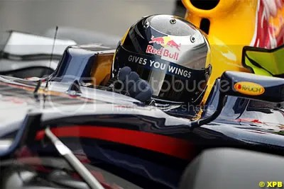 Sebastian Vettel behind the wheel of a Red Bull