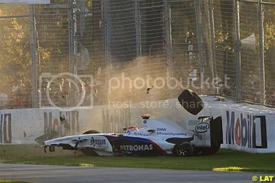 Moments after hitting Vettel, Kubica had a nasty shunt into the wall