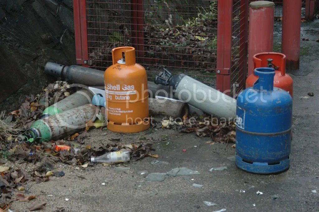 Discarded gas cylinders behind C Block