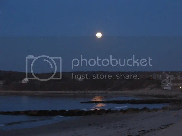 moon over plymouth beach