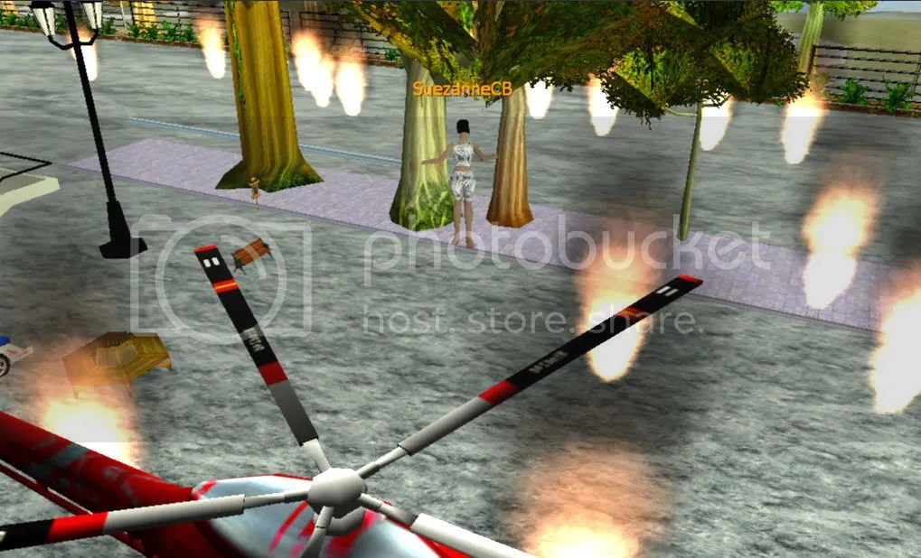 Me, my helicopter, flames, and streetlights