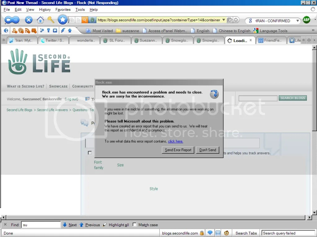 Second Life Answers crashes browsers