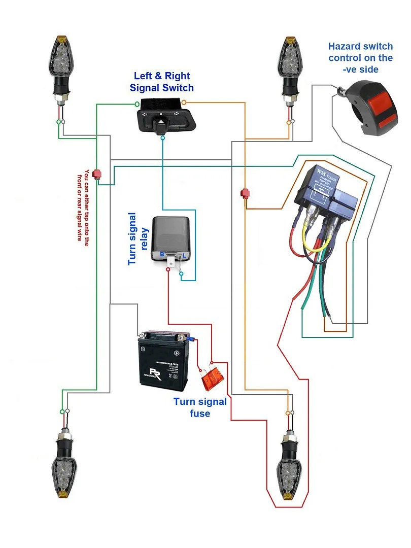 wiring diagram for motorcycle hazard lights 1965 ford falcon diy 4 way warning light system honda suzuki yamaha below show how to wire the but getting power from signal supply this setup will only work if ignition turned on