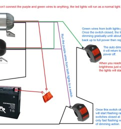 below diagram shows how to use 2 switches to ground the green wires purple wires for dimming function strobe function [ 1024 x 768 Pixel ]