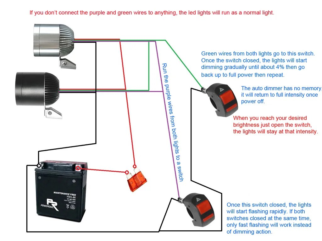 hight resolution of below diagram shows how to use 2 switches to ground the green wires purple wires for dimming function strobe function
