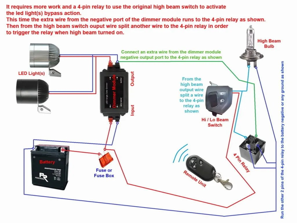hight resolution of 12v 780lm cree led motorcycle auxiliary adventure fog 4 light ballast wiring diagram