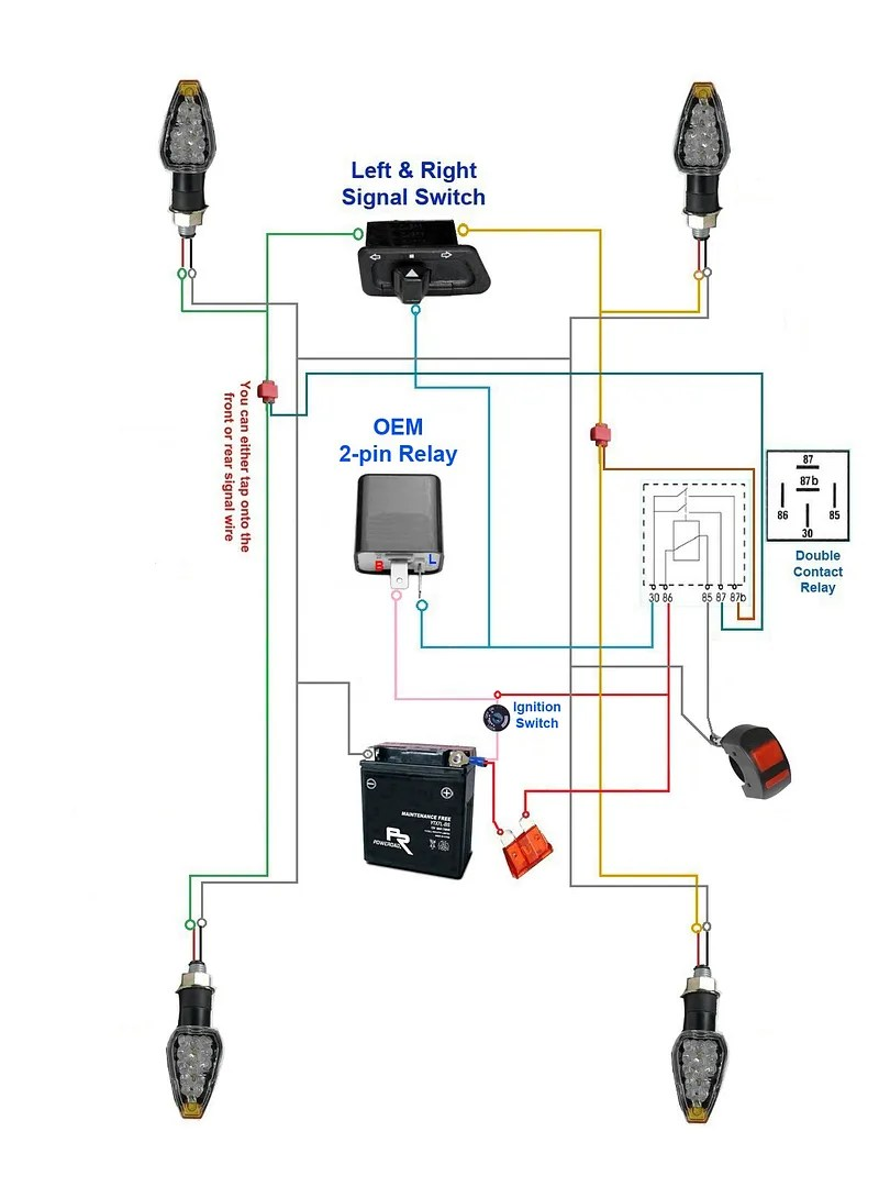 hight resolution of oem 3 pin relay turn signal system wire schematic below