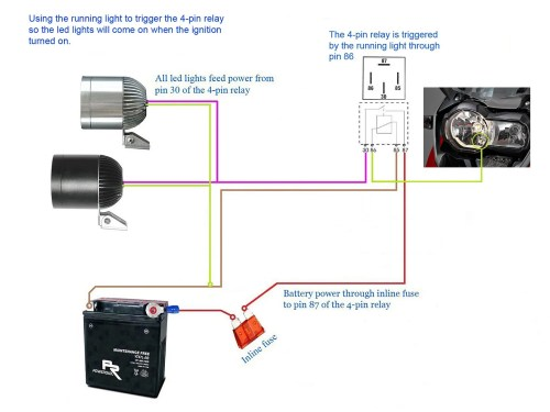 small resolution of below diagrams show how to set up the led lights using the 4 pin relay with or without the handlebar switch