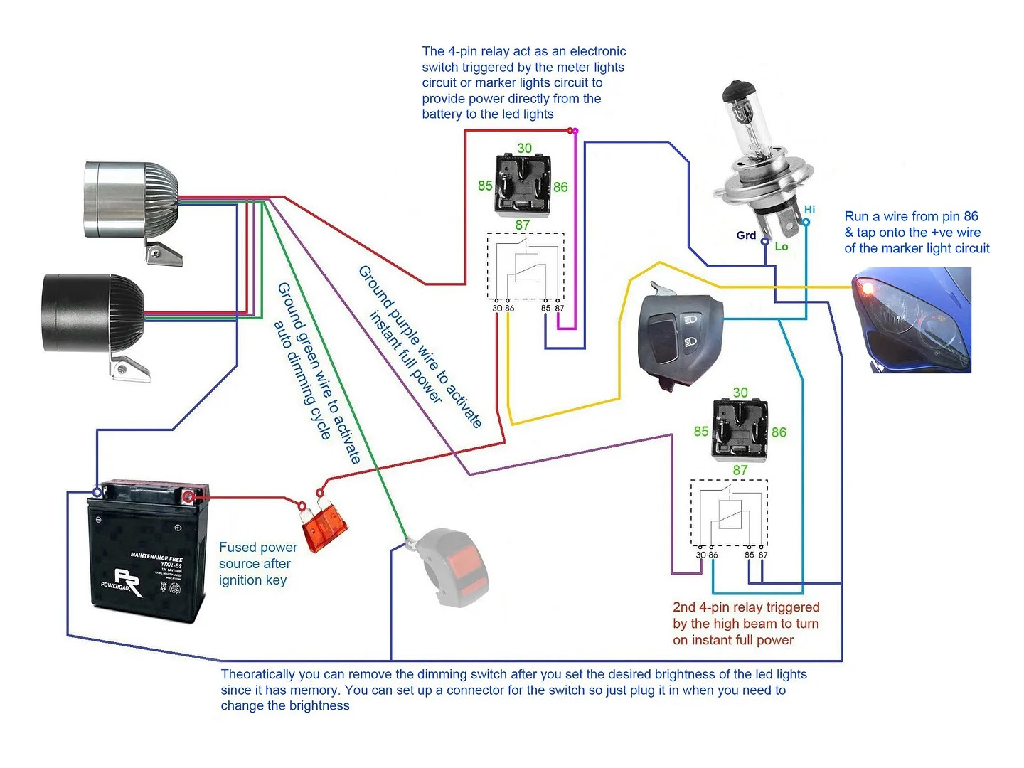 5 pin relay wiring diagram headlights safety switch 3500lm cree led light x2 43switch 2allbuyer