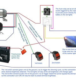 below diagrams show how to set up the led lights with 2x 4 pin relay a switch [ 1024 x 768 Pixel ]