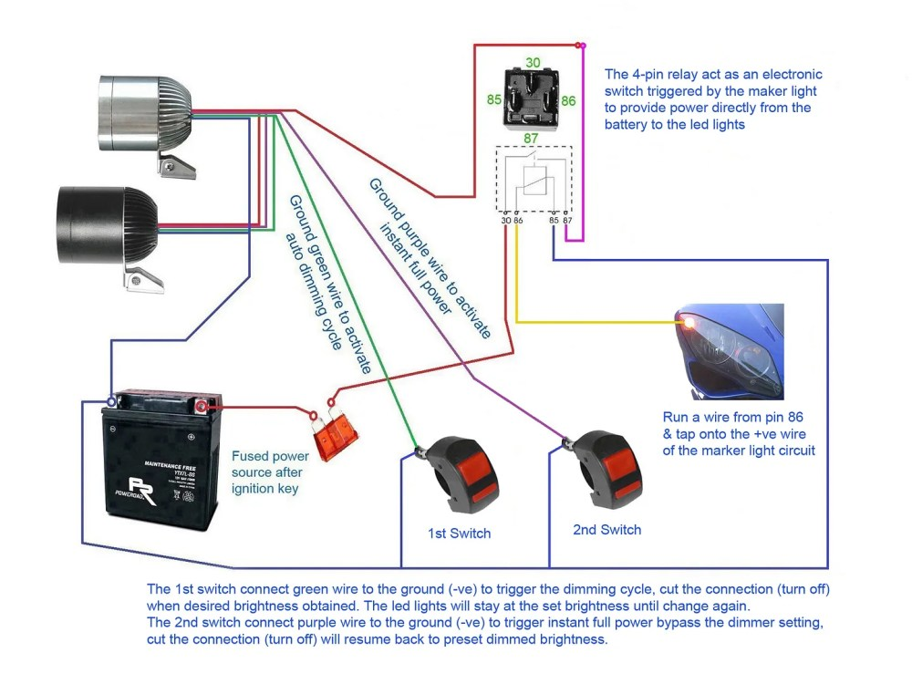medium resolution of below diagrams show how to set up the led lights with 2x 4 pin relay a switch