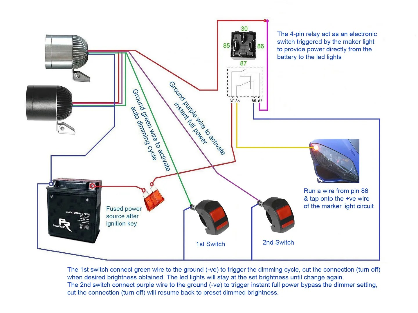 hight resolution of below diagrams show how to set up the led lights with 2x 4 pin relay a switch
