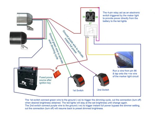 small resolution of below diagrams show how to set up the led lights with 2x 4 pin relay a switch