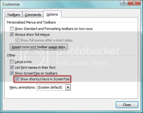 ScreenTip options in the Customize dialog box