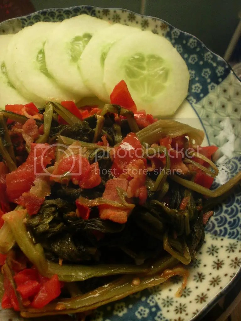 Turnip greens with cherry tomatoes, bacon, chives and a dash of lemon