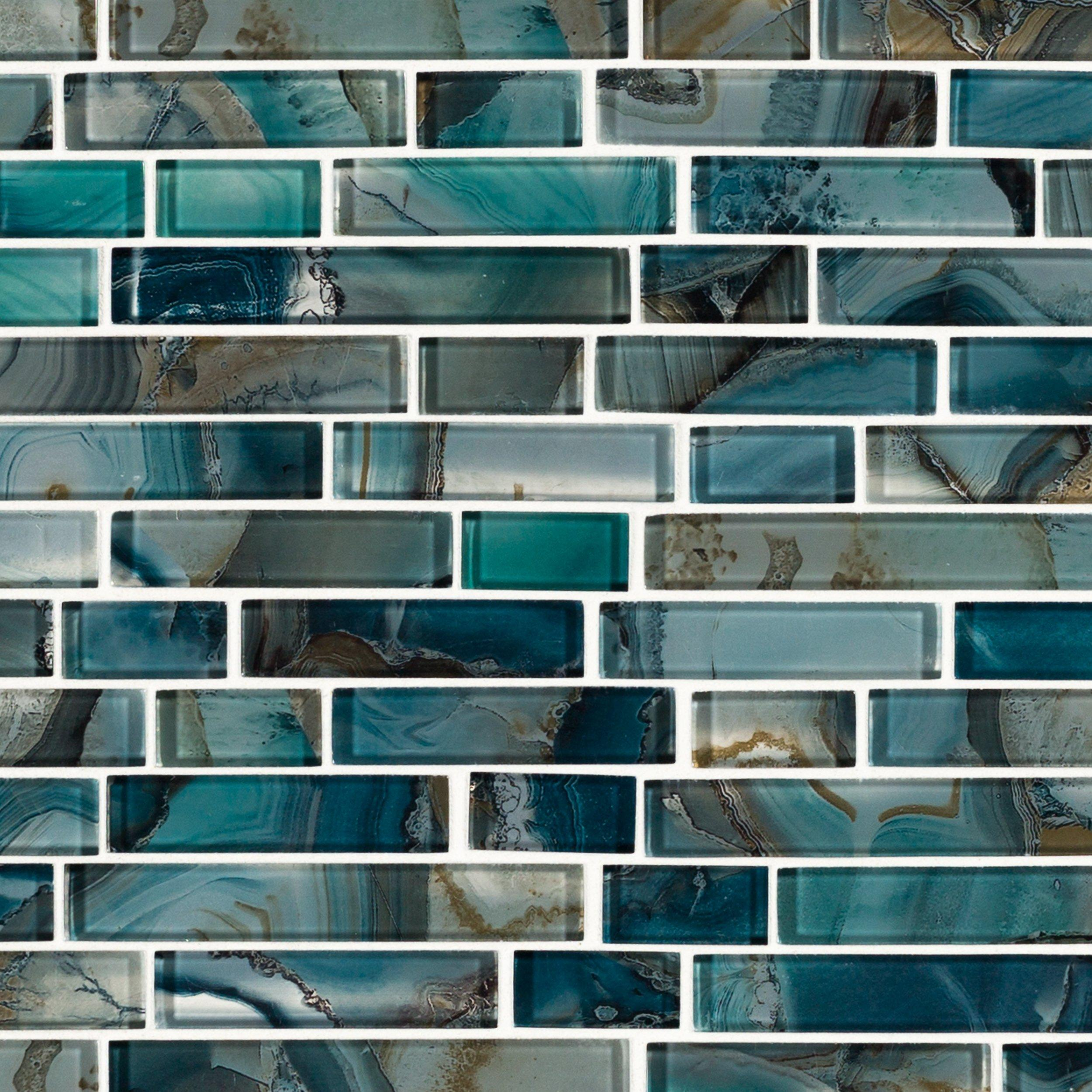 blue kitchen backsplash tile 5th wheel bunkhouse outdoor montage harbour island polished linear mosaic - 12in. x ...