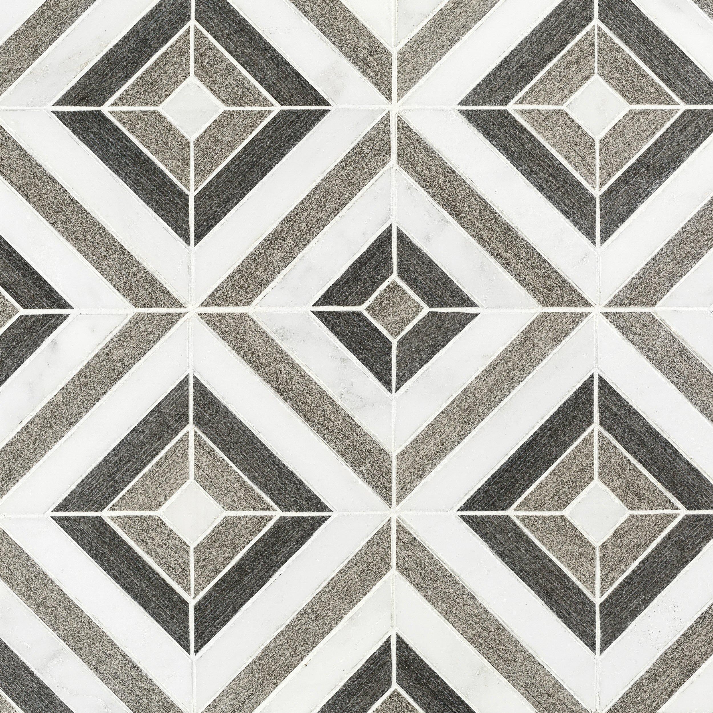 Prismatic Carrara Blend Marble Mosaic  12 x 12