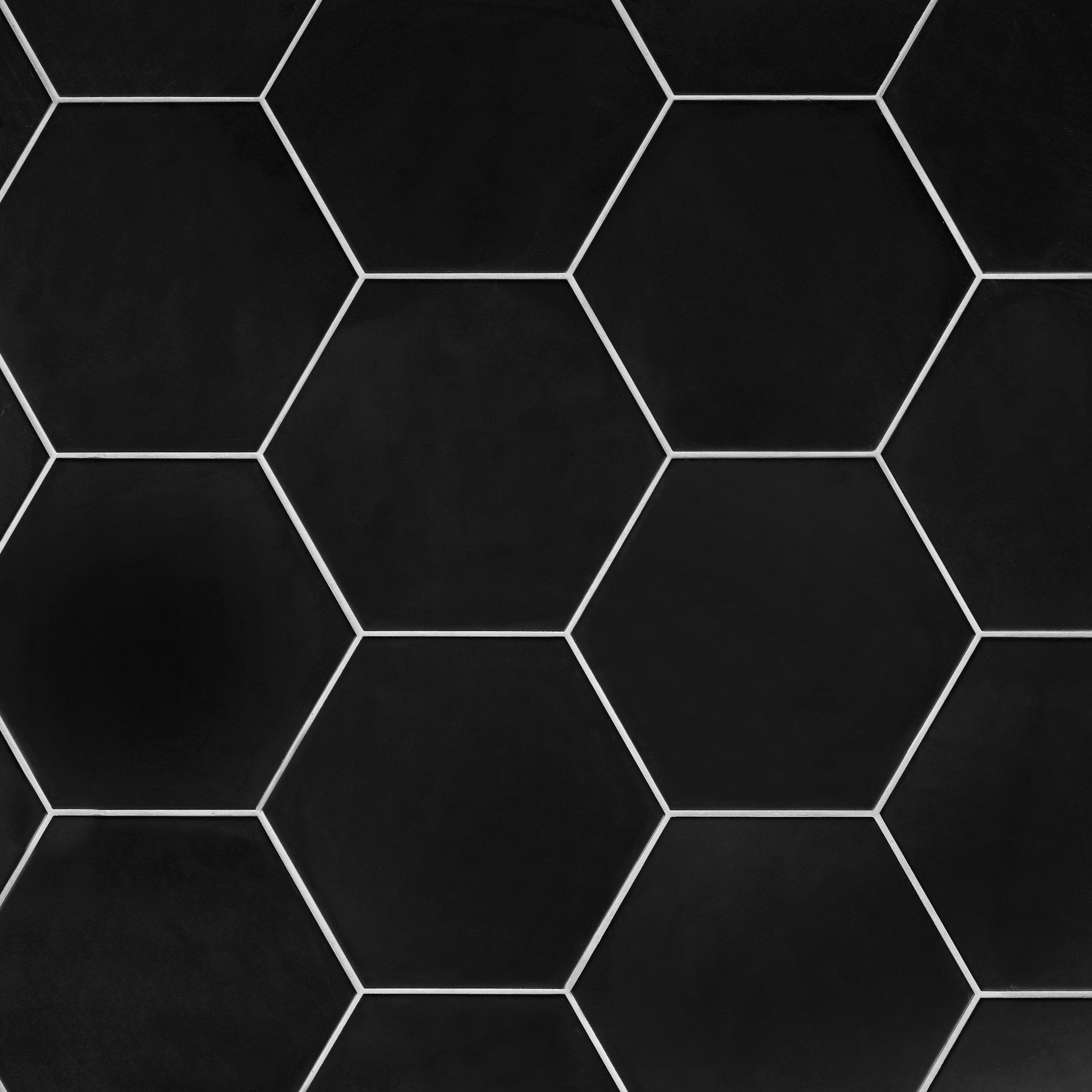 opal black hexagon porcelain