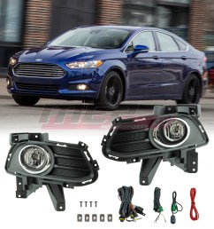 details about for 13 16 ford fusion factory bumper fit fog lights wiring kit clear lens [ 1080 x 1080 Pixel ]